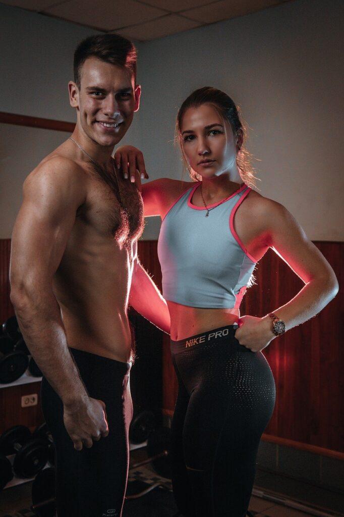 man, woman, fitness models